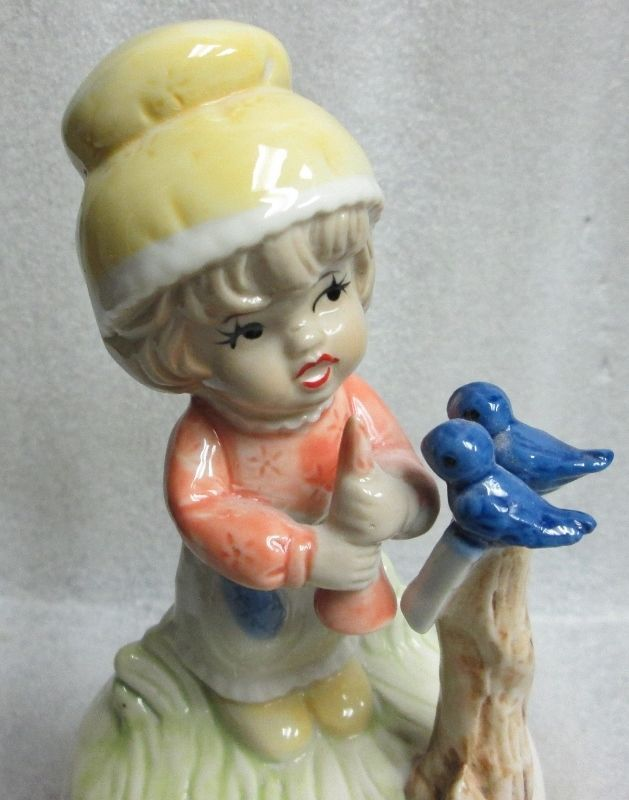 """VINTAGE 1970's GIRL SONG BIRDS ROTATING MUSIC BOX Plays The Song """"FEELINGS"""" #Unknown"""
