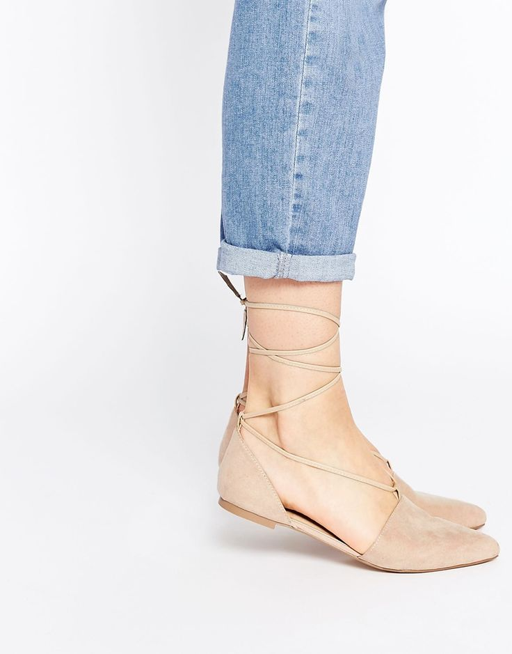 Image 1 of ASOS LIFT OFF Lace Up Ballet Flats
