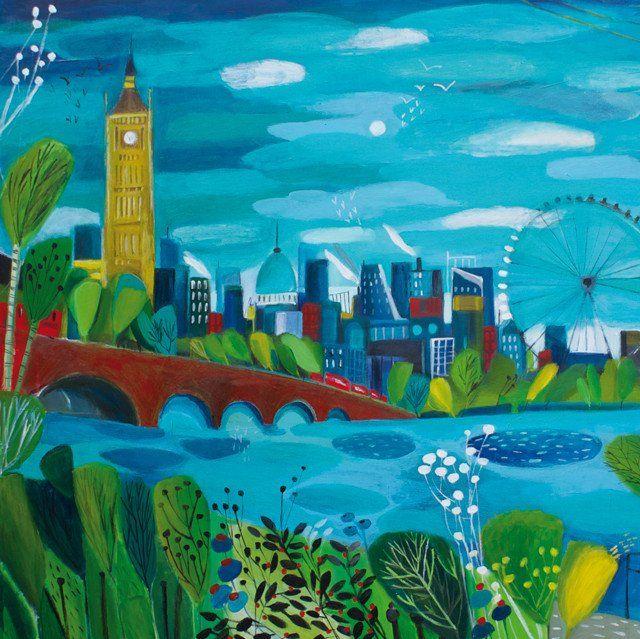 'London Calling' by Painter Natalie Rymer. Blank Art Cards By Green Pebble. www.greenpebble.co.uk