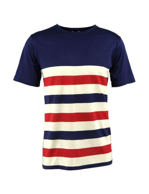 Les rayures se destructurent pour ce tee-shirt à l'incroyable douceur liée à l'emploi du coton mercerisé.  Tee-shirt manches courtes, col rond, écusson ancre en bas à droite du tee-shirt.  100 % coton mercerisé