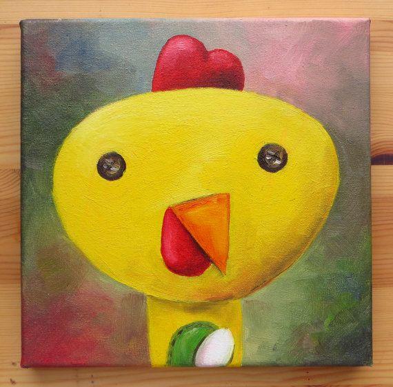 Chicken PortraitOriginal Art Animals Oil on canvas by MikiMayoShop