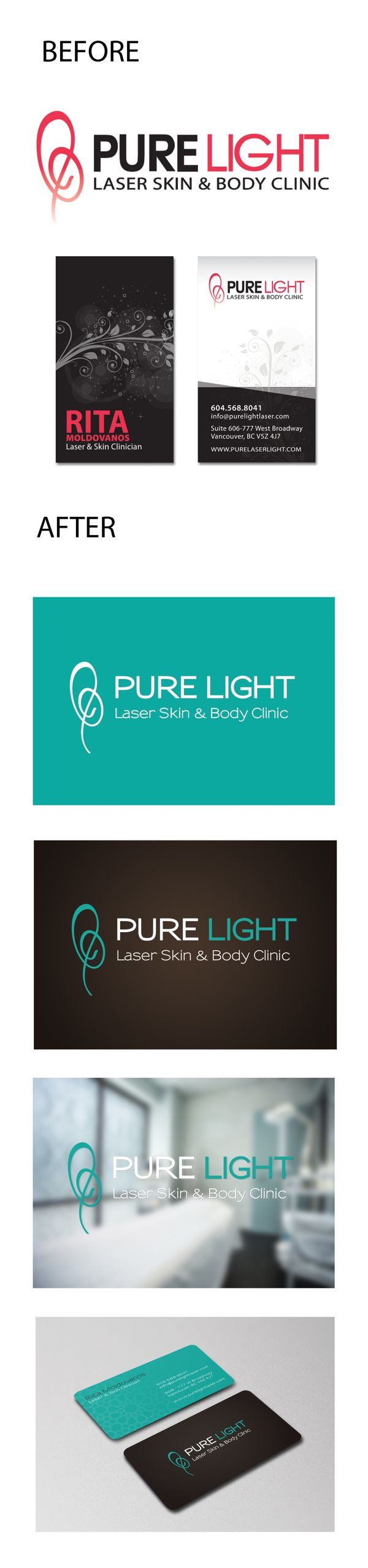 Client: Pure Light Laser Clinic, Vancouver BC. Business Card design and Logo update (keeping existing logomark).