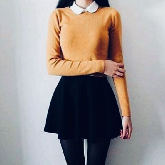 Jupe patineuse et pull jaune – #yellow #skirt #skill #pull #koreanfashion    – Korean Fashion