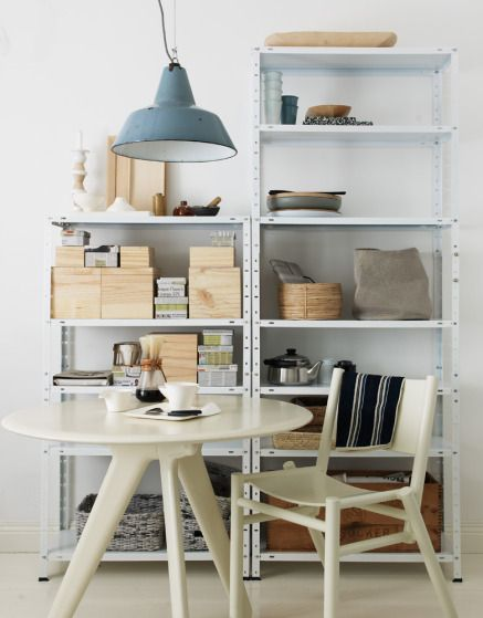I'd like these metal shelves in my back room rather than built-ins via a note on design