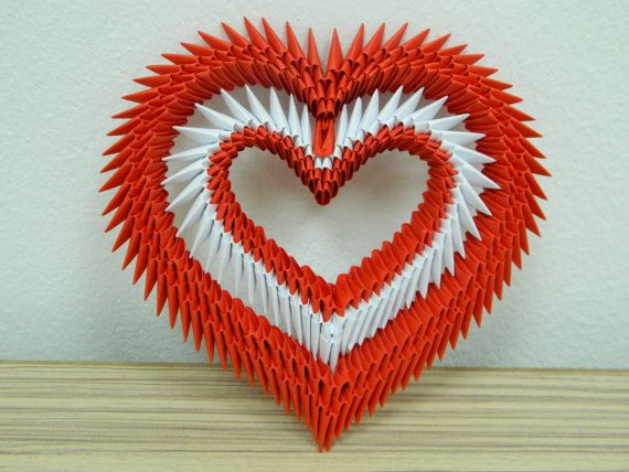 Artículos similares a Conjunto de 2 corazón de Origami 3D en Etsy