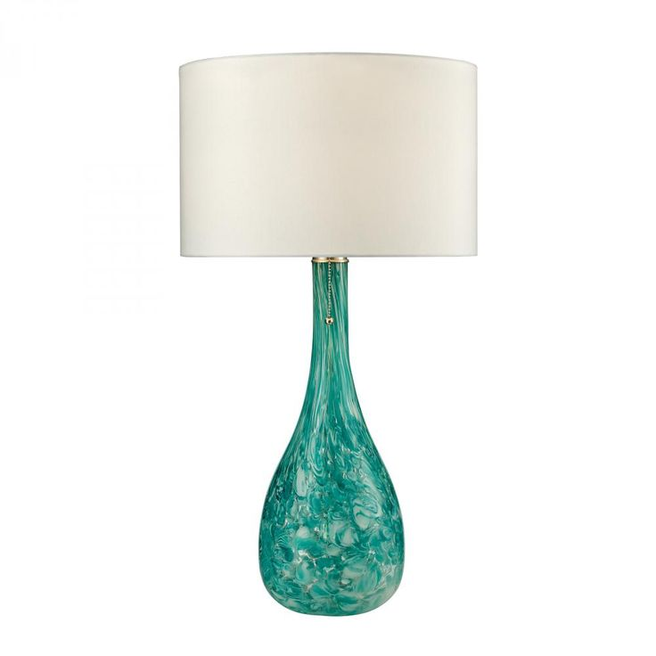 "One Light Seafoam Green Table Lamp : 6XU20 | Garbe's ""Mediterranean"" Seafoam green finish with white faux silk, hard back shade. Size: 16"" W x 29"" H Shade: 16"" W x 10"" H (1) 100w medium bulb (not included) Pull chain www.garbes.com"