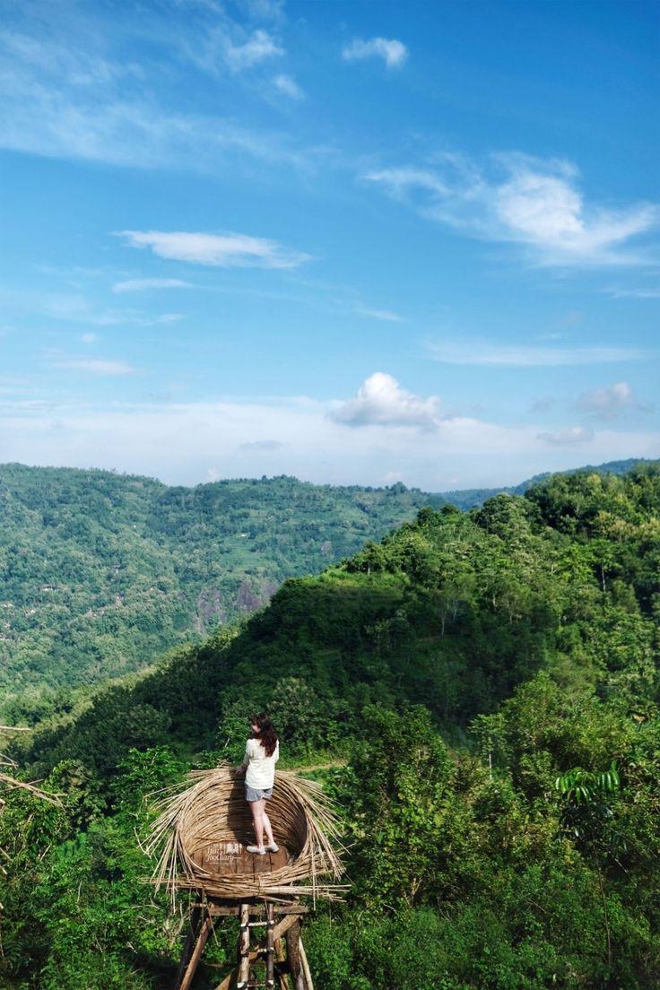 Standing at the bird nest to enjoy a beautiful view from up here at Bukit Mojo Gumelem - Mangunan, Yogya