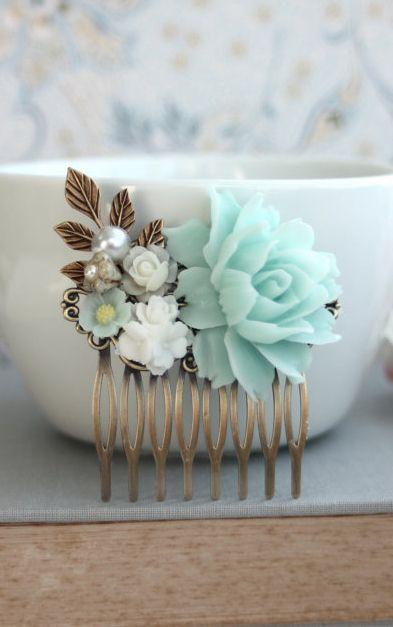 Soft Mint Green White Ivory Pearl Brass Leaf Flower