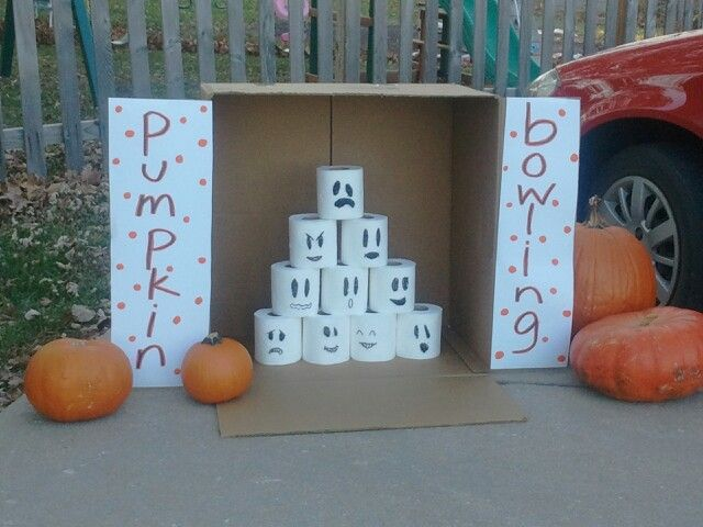 This was a big hit at Trunk or Treat - no need to carve finger holes in the pumpkins, they were small/light enough for the kids to roll. I recommend getting several extra pumpkins, though, as they do start breaking apart after a while!