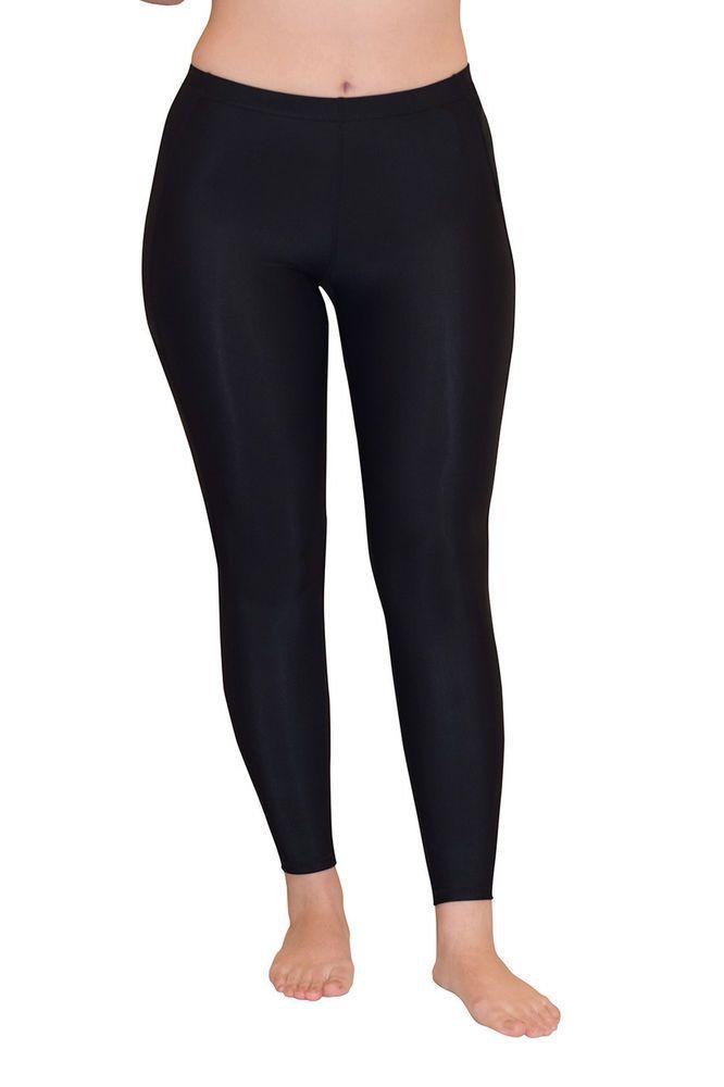 BLACK TIGHT LEGGINGS SWIM AND GYM PANTS UV PROTECTION UPF50+ FOR WOMEN #ecostinger #leggings