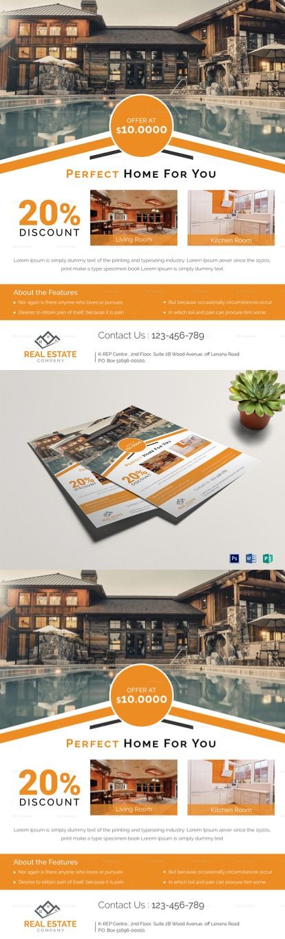 Orange Real Estate Flyer Template, Printable, Easy to edit design in various formats - Formats Included : MS Word, Photoshop, Publisher File -Size : 8.5x11 Inchs