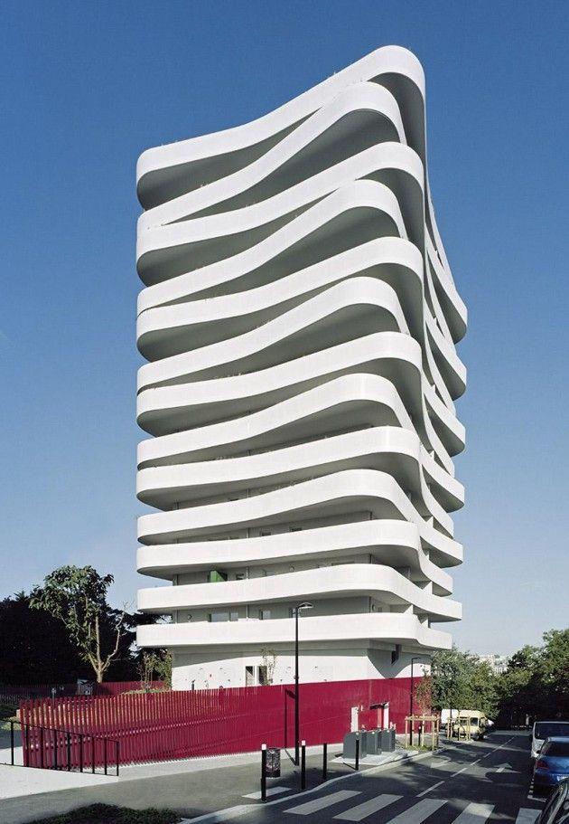 undulating balconies… ZAC du Coteau by ECDM Architects [(www.contemporist.com)]