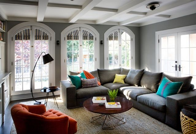 Orange and grey walls orange chair gray walls teal for Grey orange living room