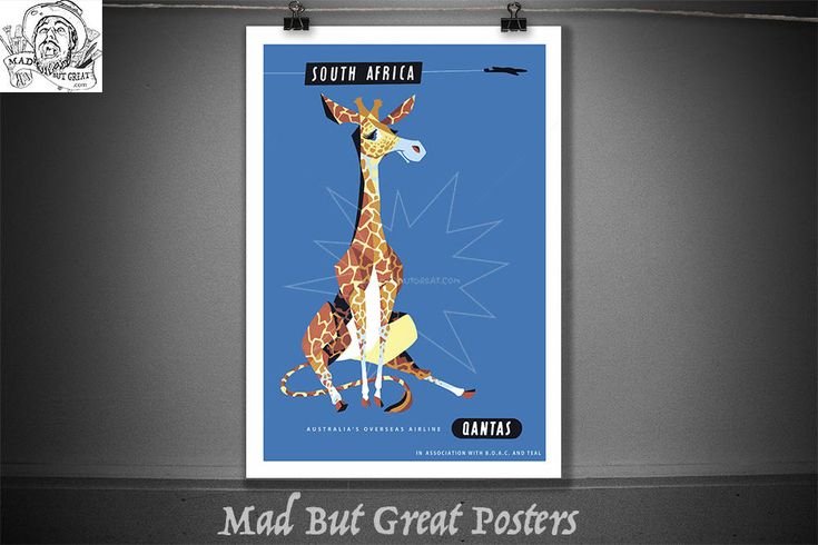 Qantas - South Africa - Giraffe - Artist Harry Rogers - 1960s, travel poster, vintage, wall art, home decor, gift, airlines, transport by MadButGreatPosters on Etsy