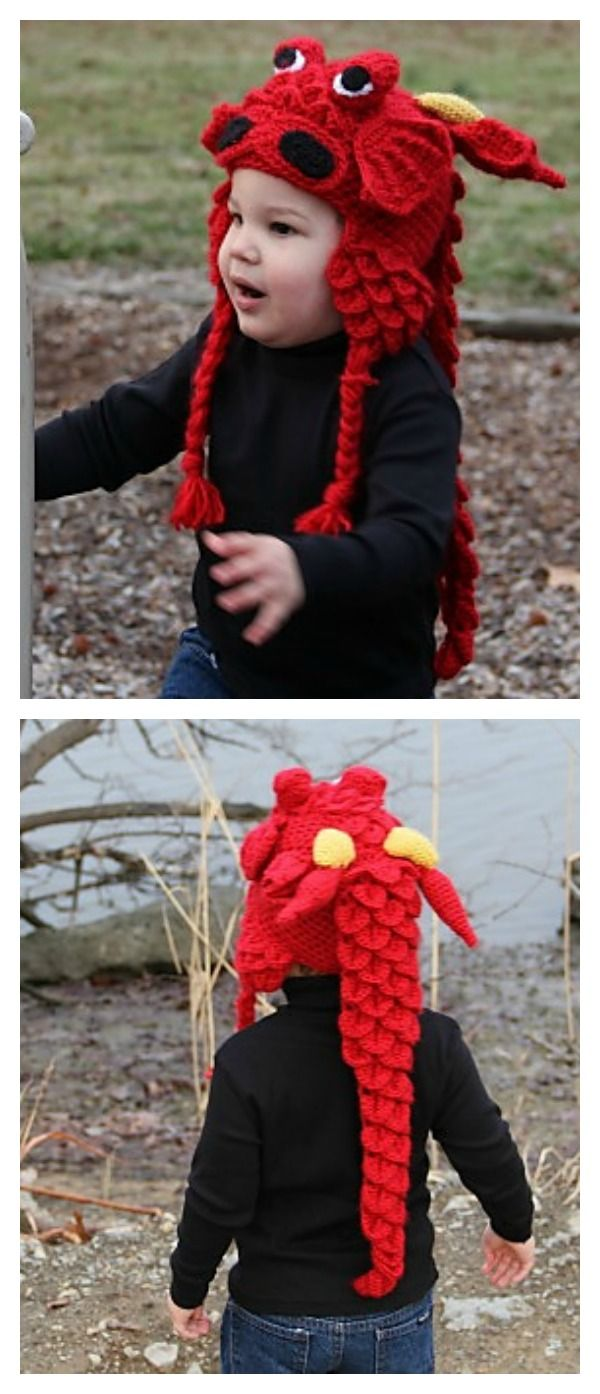 Crochet Crocodile Stitch Dragon Hat pattern