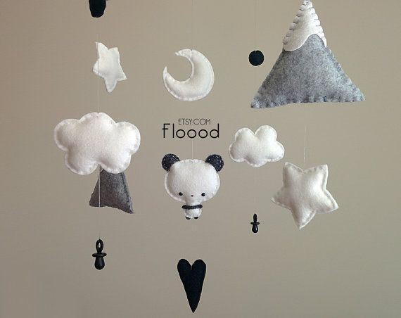 Panda Baby Mobile Panda Nursery Decor Baby Nursery by BubblyMoon
