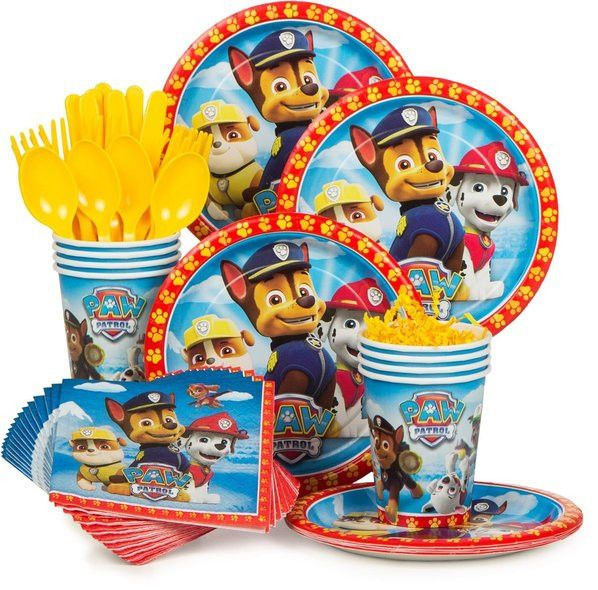 "The Paw Patrol Standard Tableware kit will serve up to eight individuals, and includes: - 8 Paw Patrol 7"" Cake Plates (luncheon plates sold separately) - 8 Paw Patrol 9oz Cups - 16 Paw Patrol Beverage"