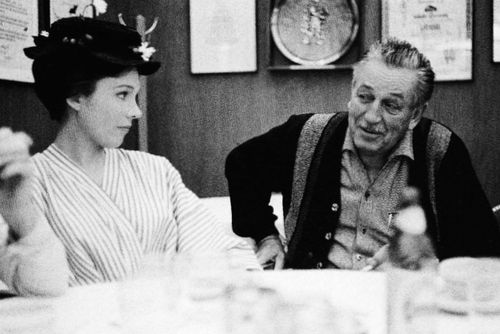 Julie Andrews and Walt Disney during Mary Poppins
