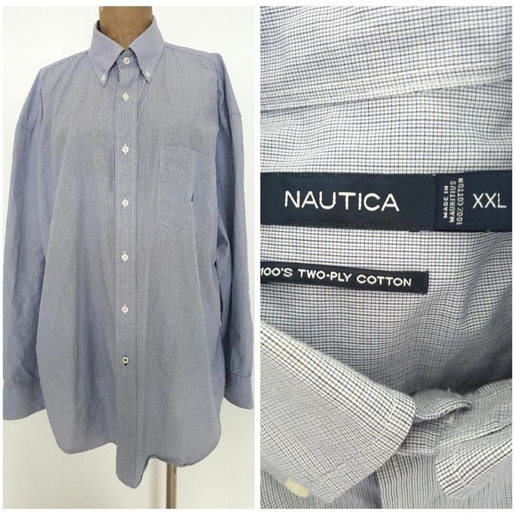 Nautica Mens Dress Shirt Size XXLarge Blue Plaid Cotton Button Down Collar #Nautica