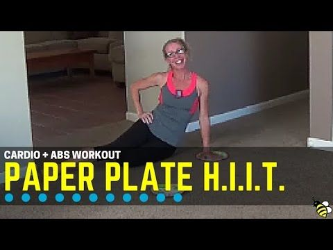 Low Impact Cardio + Abs Paper Plate HIIT - Quick and Quiet at-Home Workout ... Get ready for a quick, fun and fast-paced workout using an unusual piece of equipment:  paper plates!  The unstable surface of the plates means you are constantly challenging your core stabilizer muscles while performing the various cardio and strength exercises. This is high intensity work done in long intervals, paired with ab exercises performed for reps.  Find more FREE workout videos at www.PahlaBFitness.com