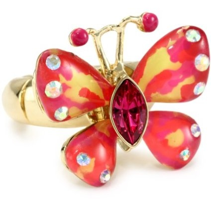 """Betsey Johnson """"Hawaii Luau"""" Butterfly Stretch Ring, Size 7.5 - designer shoes, handbags, jewelry, watches, and fashion accessories 
