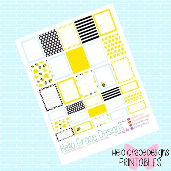 Honey Bee themed Erin Condren Life Planner stickers you can print at home.
