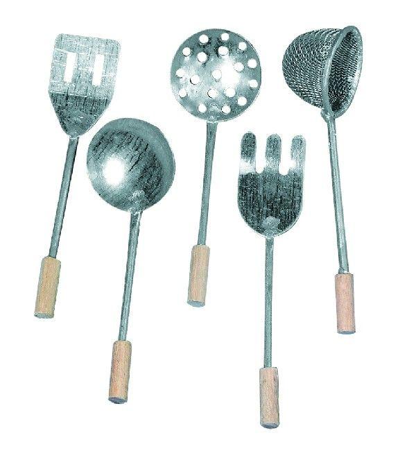 Fém/Fa konyhai eszközök, 8 cm, csom. 5 db, 5-féle