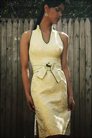 Yellow Peacock Brocade Modern Cheongsam Dress – shopkimera