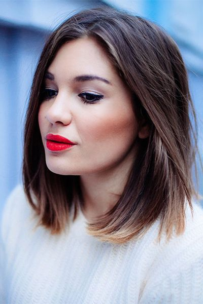 A great fall hair cut and color with a red lip to