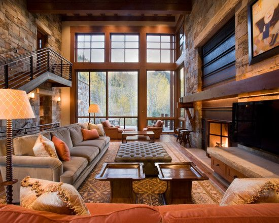 Brilliant Contemporary Rustic Home Design : Fascinating Home Living Design  With Comfortable Interior Design With Small
