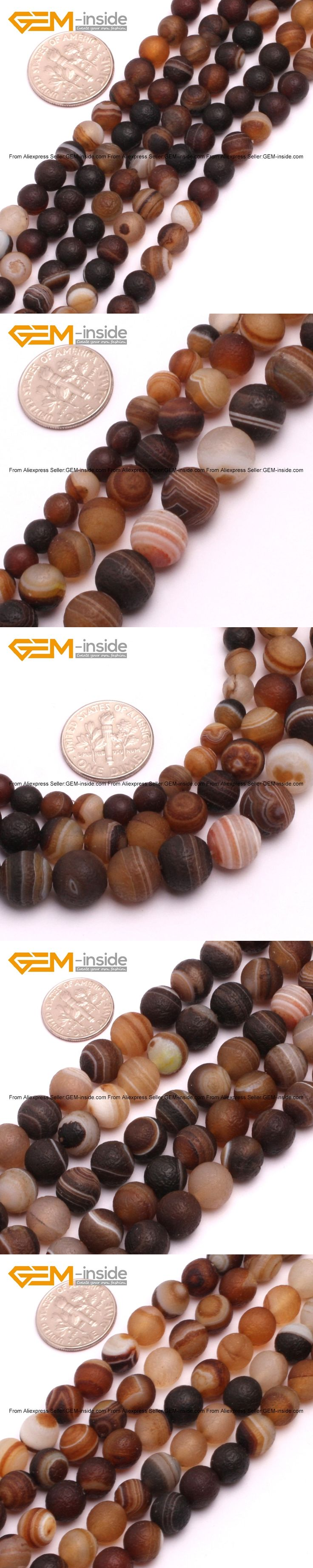 Natural Brown Stripe Agat Matte Frost Beads For Jewelry Making 6-10mm 15inches DIY Jewellery FreeShipping Wholesale Gem-inside