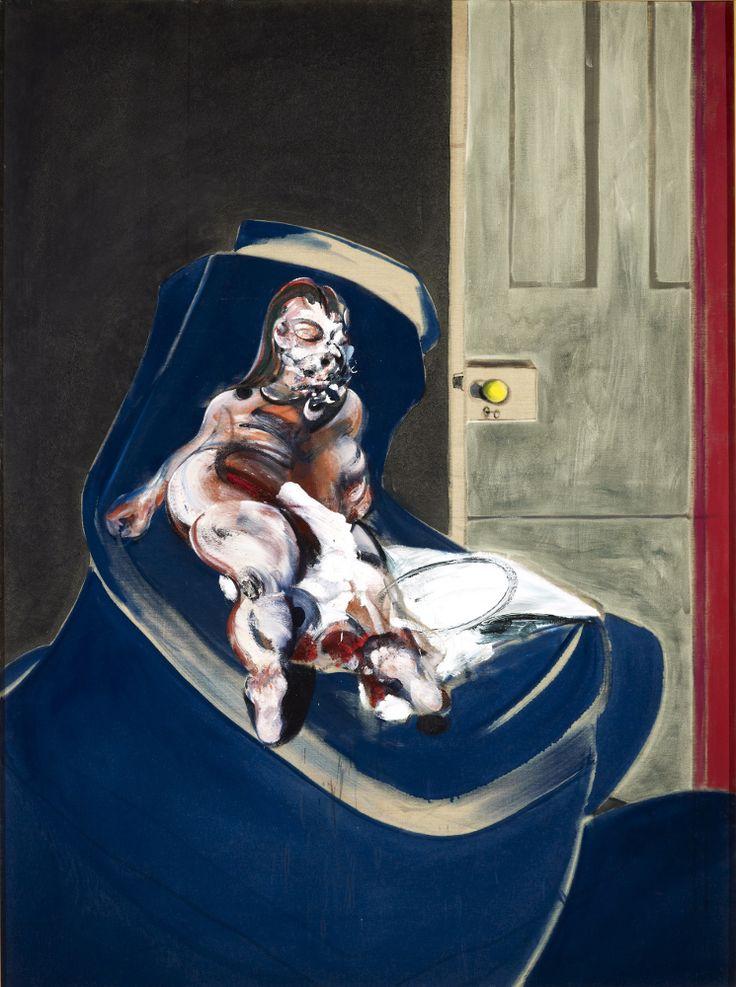 jimlovesart: Francis Bacon - Portrait of Henrietta Moraes on a Blue Couch, 1965.