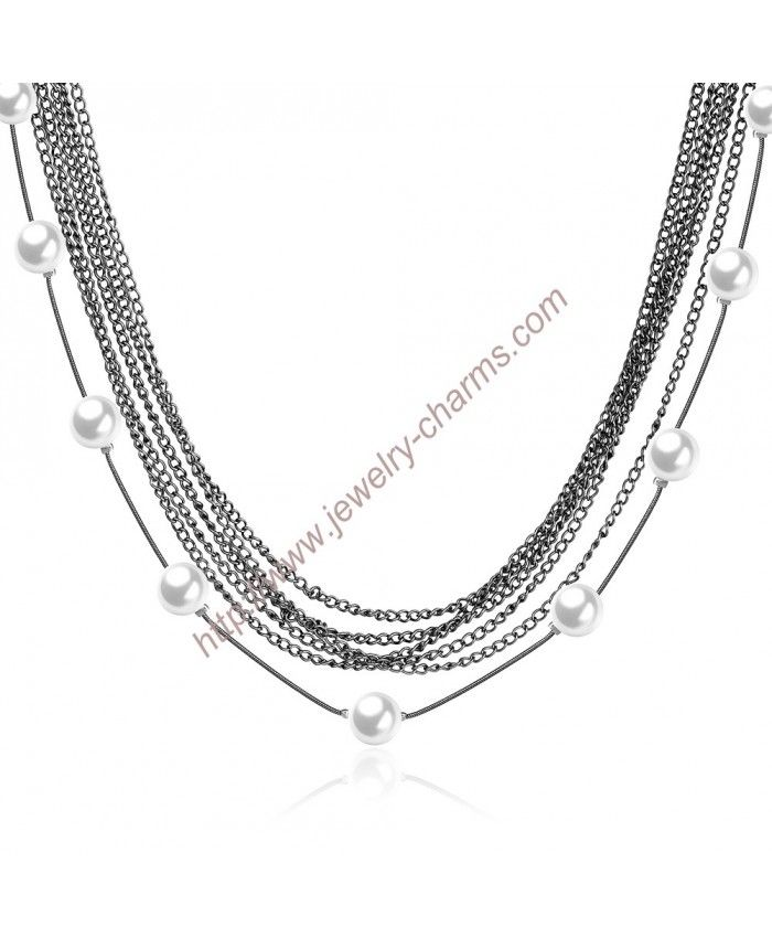 Chain Link Necklace Lengths For Plus Size Milk White Plastic Beads