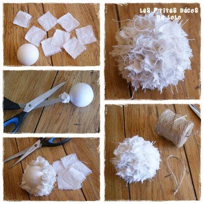 Comment faires boules de Noël frou frou avec des petites boules de polystyrène et des carrés de tissu