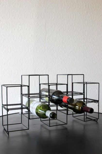 Square Matt Black Geo Wine Bottle Rack - Kitchen