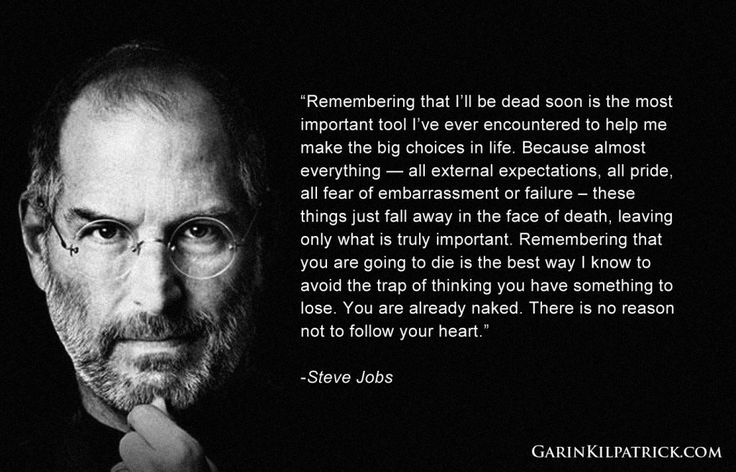 Steve Jobs quote about death, failure, and success