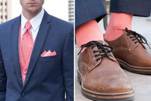 Coral Wedding Groomsmen Sock