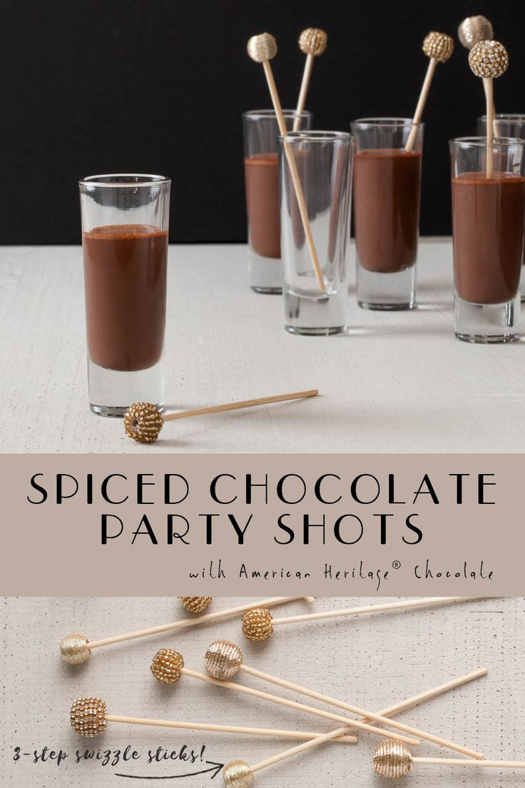 Spiced Hot Chocolate shots for a holiday fête? Yes! What could be more fabulous than a holiday party kicked off with a shot of Spiced Hot Chocolate? AMERICAN HERITAGE® Chocolate Drink is prepared with equal parts finely grated chocolate and steaming water. And check out our DIY swizzle sticks. Simply stunning!