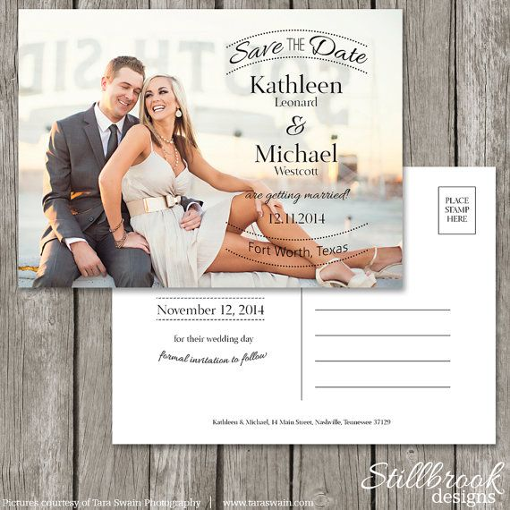 Save The Date Postcard Template - Wedding Photo Save The Date Card - Printable Simple Classic Formal Design - SD07