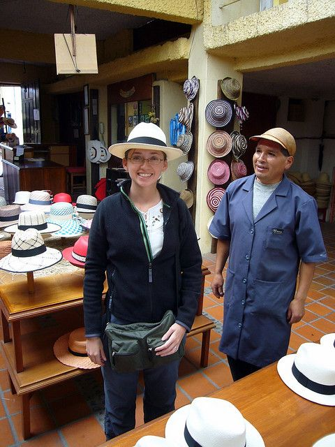 Panama hat shopping in Cuenca , Ecuador