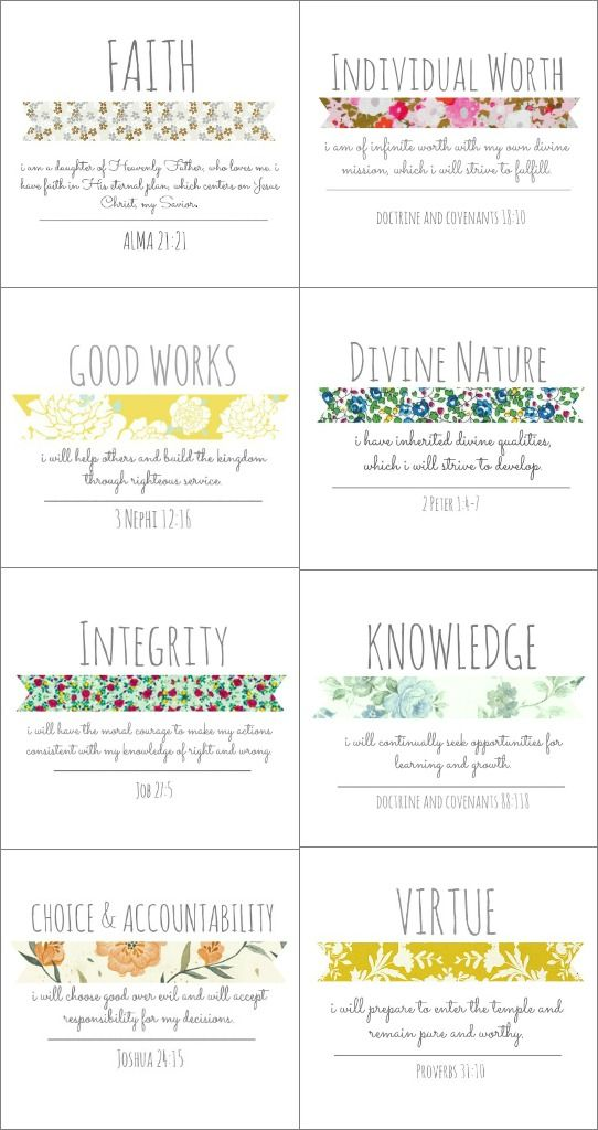 Brett and Courtney: YW Values: Vintage Style - I think I'm going to print these for my girls' room!