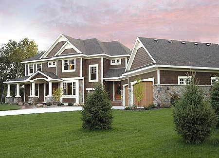I LOVE Craftsman-style homes.  So much character!Dreams Home, Floors Plans, Craftsman Home Plans, Garages, Houseplans, White Trim, Dreams House, Exterior Colors, House Plans