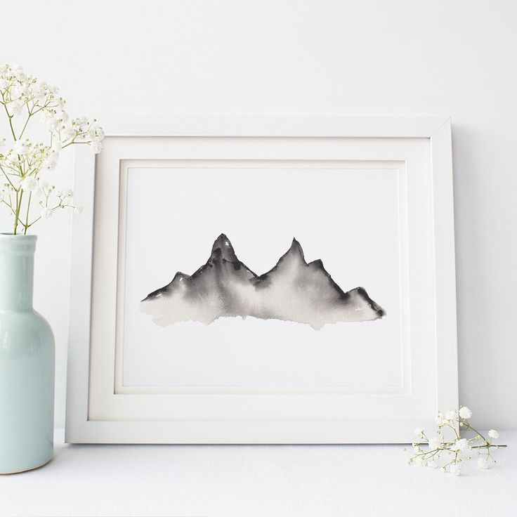 Modern Mountain Black And White Watercolor Painting Wall Art