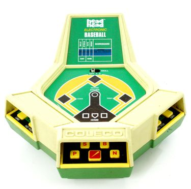 1982 COLECO head to head baseball; unusual size and shape, but as much fun as, if not more than MATTEL ELECTRONICS baseball; has 'organ-type' ballpark music and both players play at the same time