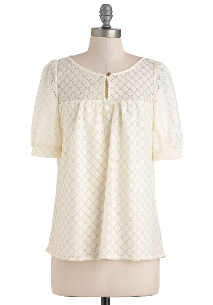 That's Demure Like It Top - Cream, Solid, Buttons, Lace, Short Sleeves, Work, Casual, Vintage Inspired, Mid-length, Sheer