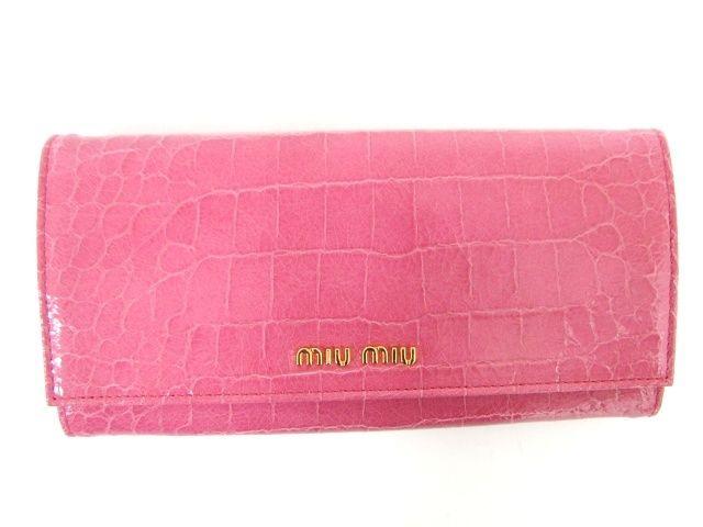 ミュウミュウZIP長財布/GERANIO(ピンク)/型押しカーフ5M1109  -ミュウミュウ財布コピー