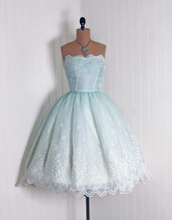 1950 s Vintage Ethereal Baby Blue and Crisp White Ombre