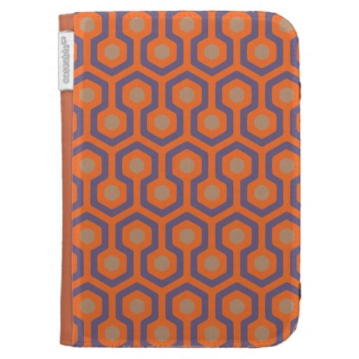 Orange/Electric Blue/Cappuccino Beehive Pattern Kindle Folio Case - Exclusive colors and geometric pattern. Tought for coffee and Cappuccino lovers!