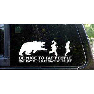 (Be nice to fat people - They may save your life! Funny die cut decal) Tasteless, stupid and funny This decal makes fun of people who may not be able to help the way they look, at least not immediately.... [Click for more info]: Vinyls Decals, Be Nice, Funny Cat, Cars Decals, Funny Cars, Life Funny, Sticks Figures Families, Nobody Care, True Stories