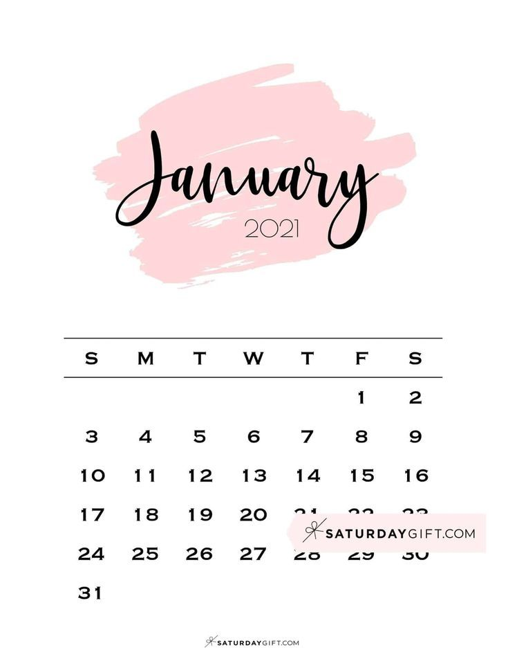 Cute (& Free!) Printable January 2021 Calendar | SaturdayGift in